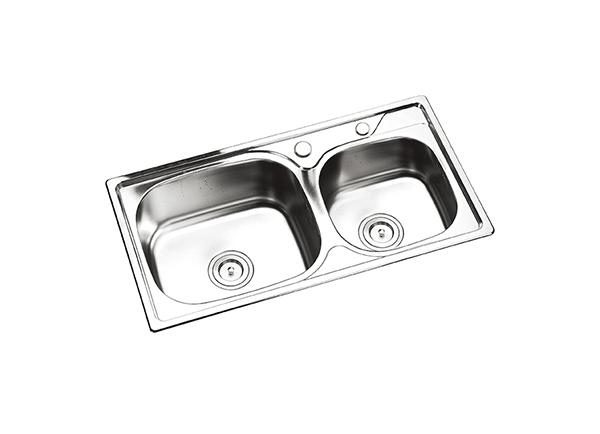 HH-5S8143-304不锈钢双盆(配全钢下水器)